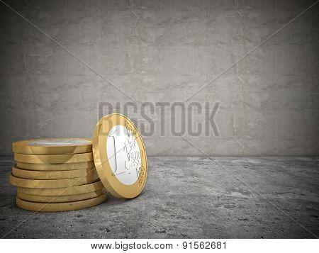 3d image of euro coins money