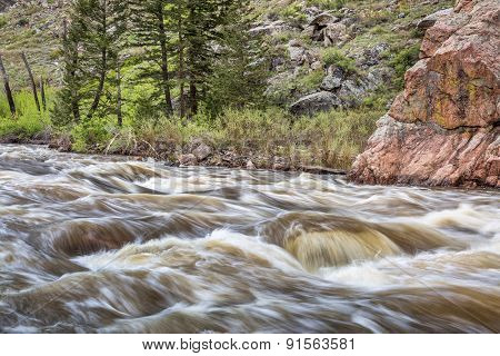 Cache la Poudre River west of  Fort Collins in northern Colorado - springtime scenery with a snow melt run off