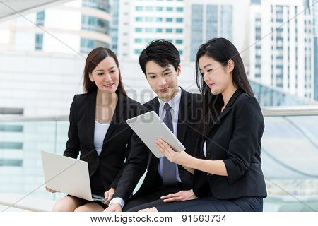Business team discuss about the project together