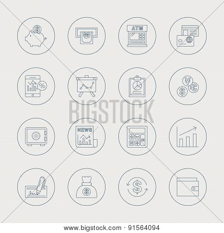 Financial Line Icon Set