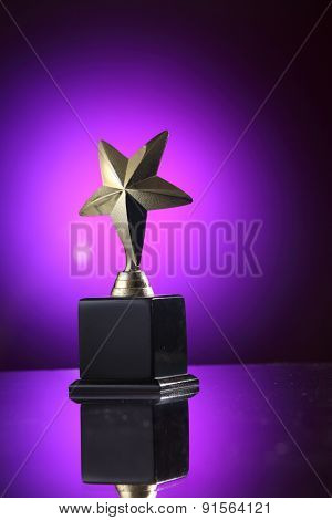 star trophy on the purple background