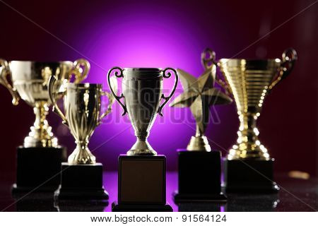 group of the trophy with purple background