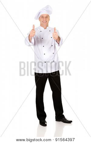 Professional chef in white hat with ok sign