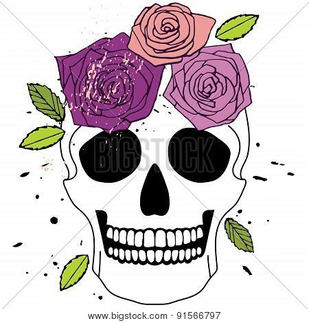 Isolated Skull With Roses