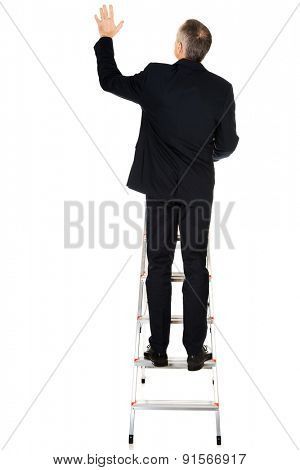 Back view of businessman climbing ladder.