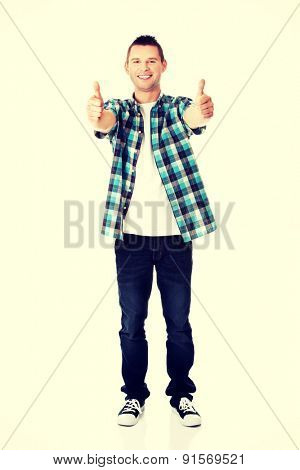 Happy smiling man with ok hand sign