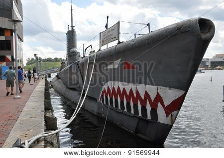 Old Submarine, USS Torsk, moored alongside the National Aquarium at Baltimore's Inner Harbor