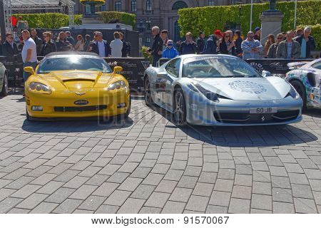 Fast Sports-cars Before The Start Of The Public Event Gumball 3000