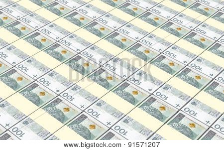 Polish currency bills stacks background.