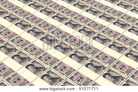 Japanese yen bills stacks background.