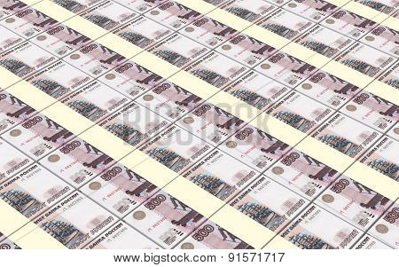 Russian money bills stacks background.