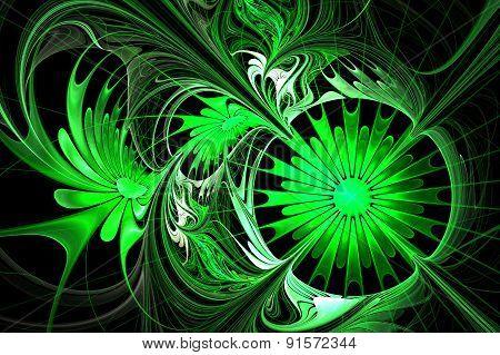Flower Background. Green And Black Palette. Fractal Design.