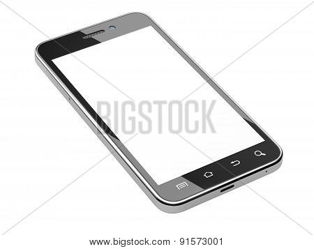 Black Smartphone With Blank Screen.