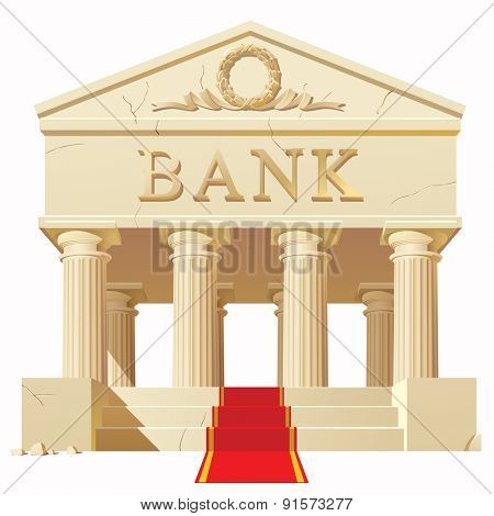 Bank building in antique style with a red carpet