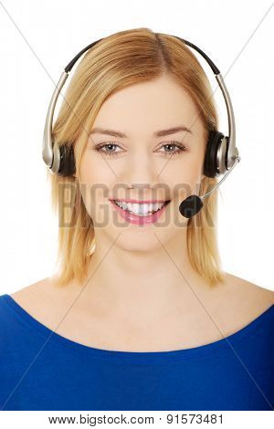 Happy smiling call center woman.