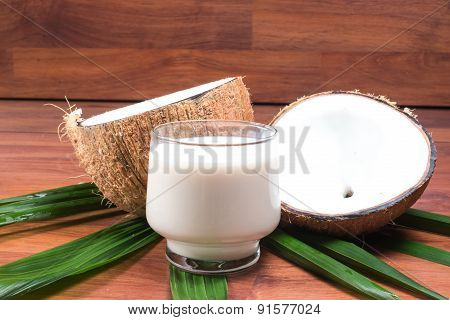 Coconut and coconut milk in glass