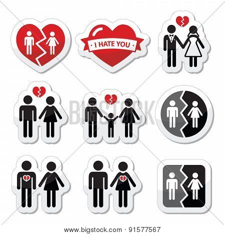 Couple breakup, divorce, broken family vector icons set