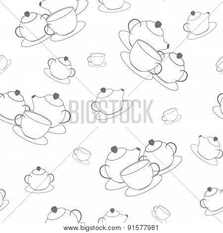 Seamless pattern of tea set