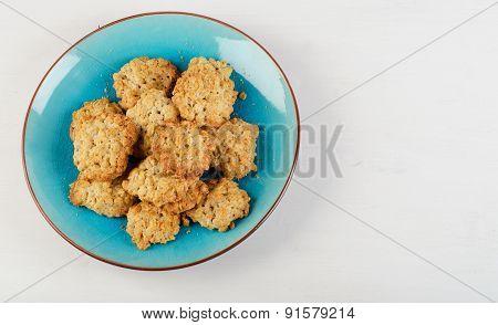 Freshly Baked Oatmeal Cookies In  Blue Plate.