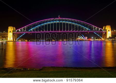 Sydney Harbour Bridge And Opera House In Lights