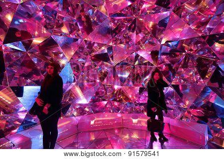 Tourists Enjoy Light Origami At Vivid Sydney