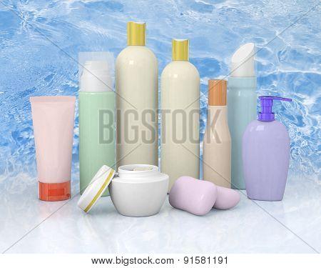 Group Cosmetic Bottles On Background Cinem.