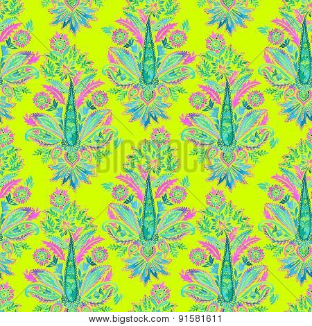 seamless paisley pattern in neon colors