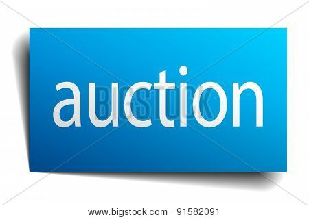 Auction Blue Square Isolated Paper Sign On White