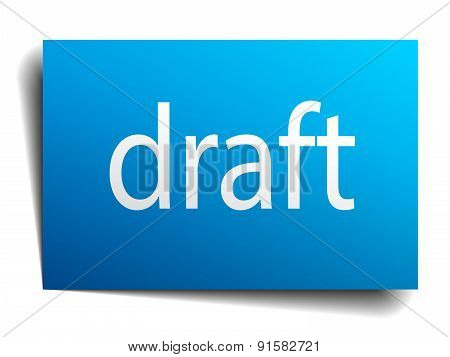Draft Blue Paper Sign On White Background