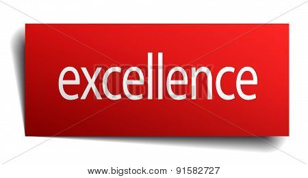 Excellence Red Square Isolated Paper Sign On White