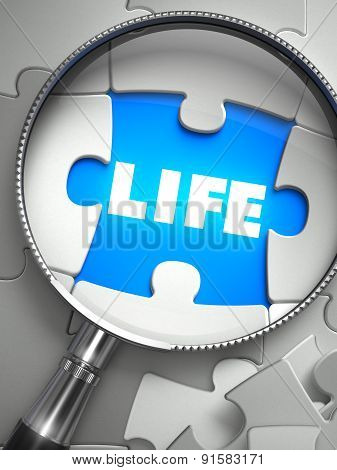 Life - Missing Puzzle Piece through Magnifier.