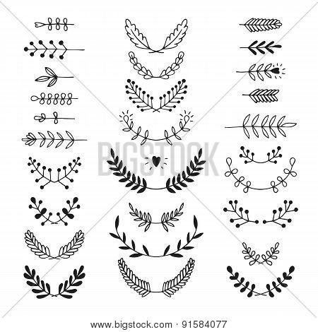 Set of vector handdrawn laurels, wreath