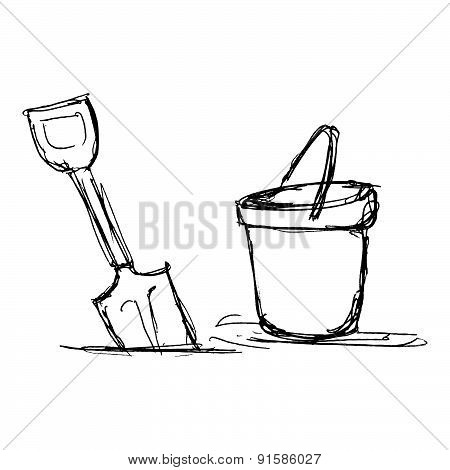 Illustration Of A Bucket And Spade