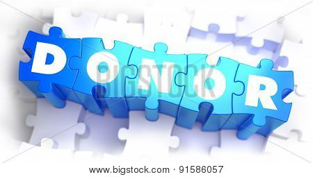 Donor - White Word on Blue Puzzles.