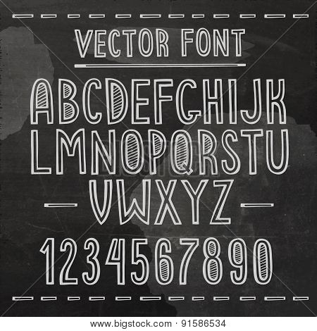 Hand drawn font. Vector chalkboard alphabet.
