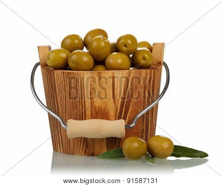 Olives in wooden bucket