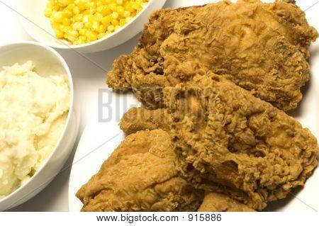 gebratenes Huhn Abendessen