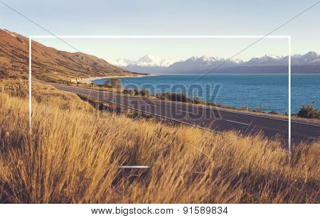 Country Road Amazing Scenery Lake Mountain Range Concept