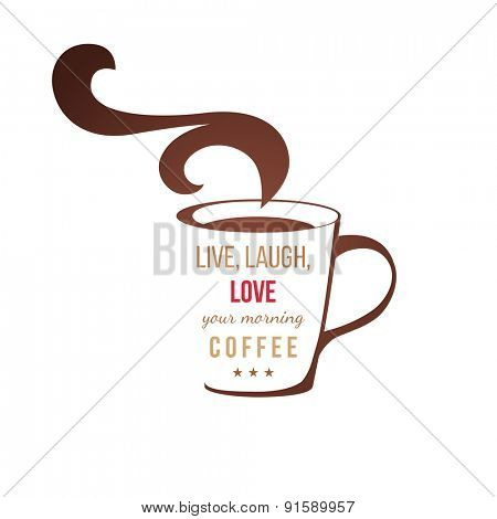 Coffee cup with type design on white background
