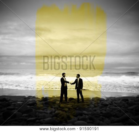 Businessmen Commitment Handshake Beach Relaxation Concept