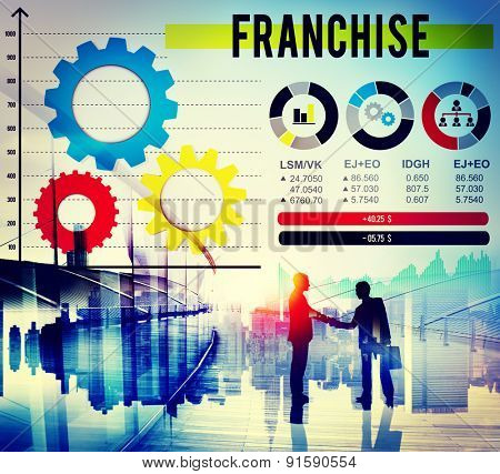 Business Negotiating Franchise Small Branch Profits Handshake Concept