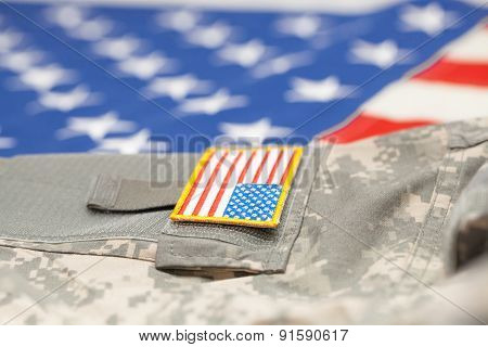 New Usa Army Uniform Over Flag - Focus On Stripe