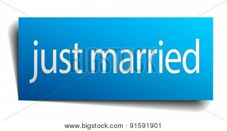 Just Married Blue Paper Sign Isolated On White