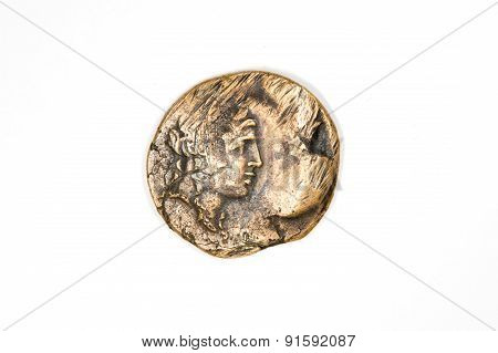 Vintage Bronze Coin With Portrait On A White Background