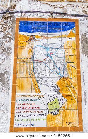 SAFI, MOROCCO, APRIL 6, 2015: Map of city on wall of medina