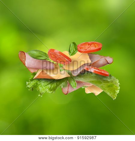 Falling ingredients for sandwich against natural green background - slices of fresh tomatoes, ham, cheese and lettuce