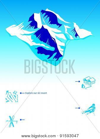 Skiing resort booklet with mountain and icons
