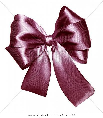 brown bow made from silk isolated