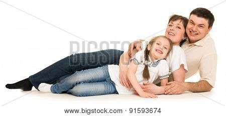 happy family in studio white background