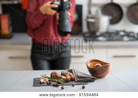 Woman Photographer Focuses Lens Autumn Fruits And Vegetables